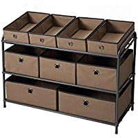 Bintopia Deluxe Storage Rack with Fabric Bins (Taupe)