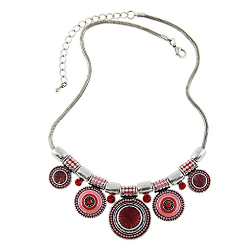 SusenstoneChoker-Necklace-Ethnic-Vintage-Bead-Pendant-Statement-Necklace-Red