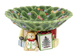 #!Cheap Spode Christmas Tree Sculpted Pedestal Bowl, 8-1/2-Inch