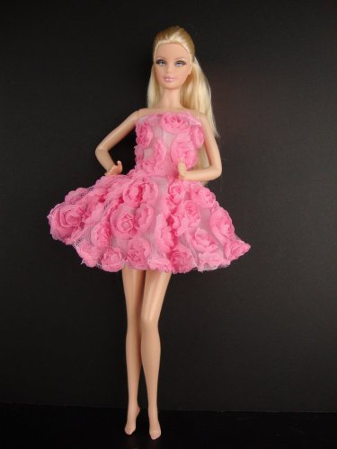 A Pink Mini Dress Covered in Roses It so Cute Also Avail in White, Blue and Green Made to Fit the Barbie Doll - 1