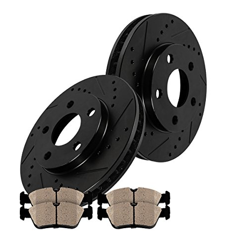 REAR BLACK Drilled/Slotted Solid 320 mm [2] Rotors + [4] Quiet Low Dust Ceramic Brake Pads Kit CFP40179B (Dodge Challenger Rt Rotors compare prices)