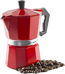 Andrew James 3 Cup Red Espresso Coffee Percolator In A Traditional Italian Style Design For Stove Tops - Includes Free Replacement Gasket