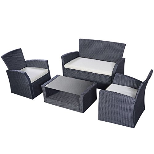 Tangkula Outdoor Cushioned Wicker Furniture Set Sofa Tea Table Black (Outdoor Cushioned Bench compare prices)