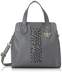 Butterflies Women's Handbag (Grey) (BNS 0323)