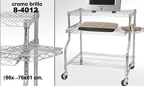 TxT Tavolo carrello porta computer in metallo cromato 86x76x6 cm