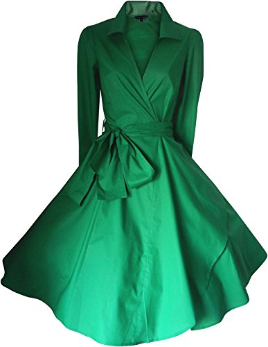 Look For The Stars Women's 3/4 Length Sleeves 50's Style Rockabilly Dress (20, EMERALD GREEN)