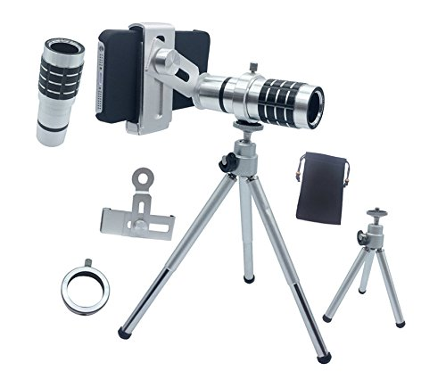 Dqdf Universal 4 In 1 Camera Lens Kit Includes 12X Magnifier Zoom Aluminum Universal Manual Focus Telephoto Telesocpe Phone Camera Lens Kit With Tripod For Iphone 4 4S 5 5S 5C & Samsung Galaxy S5 S4 S3 Note 3 Note 2