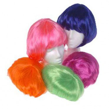 US Toy - Mod Girl Blue Bob Wig - Avail. In Purple/Orange/Green/Hot Pink