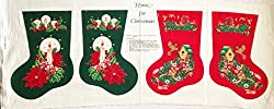 """""""Home for Christmas"""" Double Sided Christmas Stocking Fabric Panel (Makes 2 Double Sided Christmas Stockings, or Great for Quilting, Sewing, Craft Projects, Wall Hangings, and More) Makes Two 14"""" Stockings"""