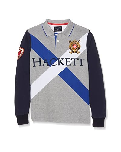 Hackett London Poloshirt Snow Cross Y grau/weiß