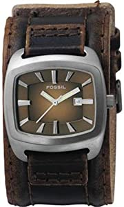 Fossil Casual Cuff Leather Watch Brown with Silver-Tone [Watch] Fossil
