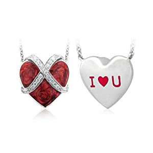 Sterling Silver Red Heart White Diamond Pendant ILOVEU (HI, I2-I3, 0.13carat)