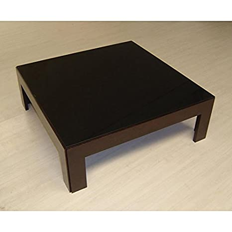 BH Design Narciss Coffee Table with Black Glass Top, 42 by 42 by 12-Inch, Wenge