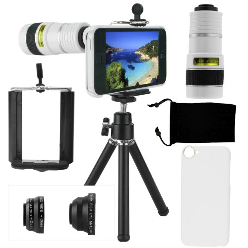 Iphone 5C Camera Lens Kit Including 8X Telephoto Lens / Fisheye Lens / Macro Lens / Wide Angle Lens / Mini Tripod / Universal Phone Holder / Hard Case For Iphone 5C / Velvet Phone Bag / Camkix® Microfiber Cleaning Cloth - Awesome Accessories And Attachmen