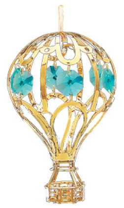 24k Gold Balloon Ornament – Green Swarovski Crystal