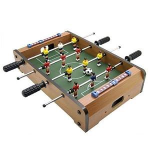 Futbolín de mesa con acabado en madera