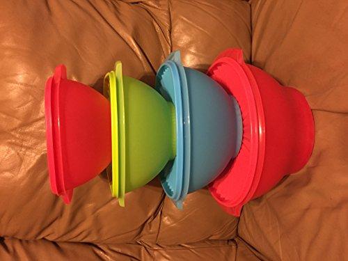 Tupperware Servalier Bowls 4-piece Set in Crushed Raspberry, Salsa Verde and Salt Water Taffy