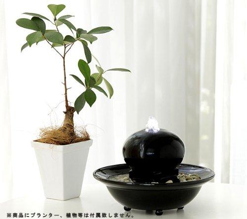 【ライト付き噴水】テーブルファウンテン オーバル ブラック