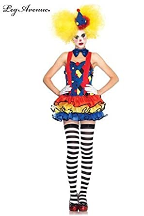 Leg Avenue Women's 3 Piece Giggles The Clown Suspender Tutu Dress with Bow Tie And Hat, Blue/Red, Large