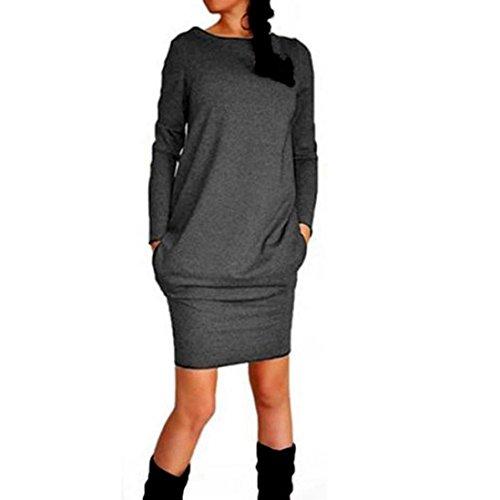 """Reasoncool Donna Nuovo casuale d'avanguardia Autunno Inverno Pacchetto Hip Dress (M -Busto: 37.00"""", grigio scuro)"""