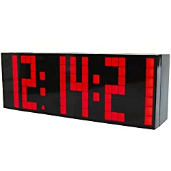 Koram Multi-function 9.6 LED Clock Countdown Timer 6 Sets of Snooze Alarm Adjustable Brightness Indoor Temperature Calendar with a Mini Remote Controller (Red)