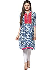 Indi Dori Women's Cotton Blue Printed Kurti With Pink Yoke