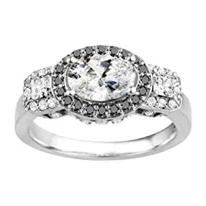 Promise Ring Set with Black And White Diamonds mounted in 14k White Gold (2.93 ct. twt.)