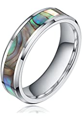 Fast Shipment! 6MM Tungsten/Titanium Abalone Shell Inlay Engagement Wedding Band Rings Size 4-12