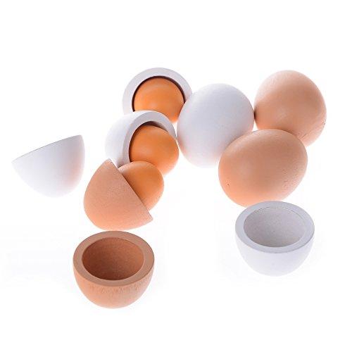 Holz SpielkUche Von Beiden Seiten Bespielbar ~ Imixlot 6X Lebensmittel Holz Eier Spielzeug Zubehör