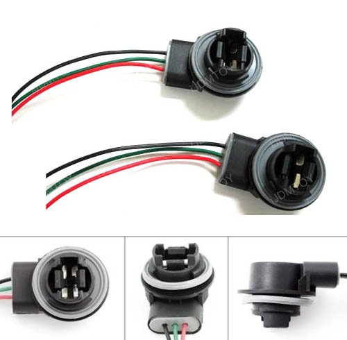 iJDMTOY 3156 3157 Wiring Harness Sockets For LED Bulbs, Turn Signal Lights, Brake Lights (Reverse Bulb Adapter compare prices)