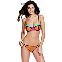 TBS Women's Color Block Strapless Push-up Bikini Swimsuit