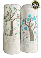 Muslin Swaddle Blankets 2 Pack - 47 inch x 47 inch Large Softest Muslin Swaddles - Half Price for Promotion - Tree Bird and Owl - Unisex for Boys or Girls - Lifetime Guarantee by Momma Hug LTD