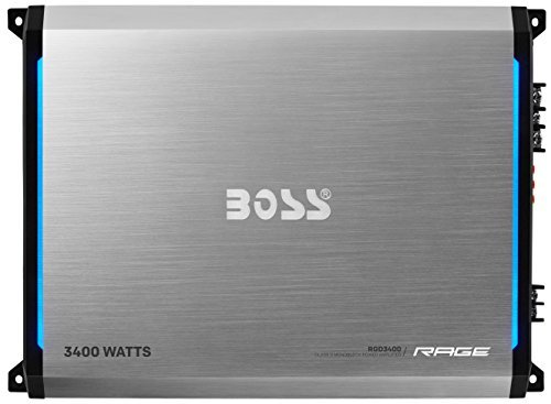 BOSS AUDIO RGD3400 Rage 3400-Watt Monoblock, Class D 1 to 8 Ohm Stable Monoblock Amplifier with Remote Subwoofer Level Control (Boss Class D Amp compare prices)