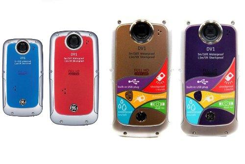GE Full-HD Waterproof digital video camera 1080p, Build-in USB and Battery (Desert GOld)