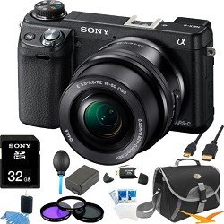 Sony NEX-6L/B NEX6 NEX-6 NEX-6L 16.1 MP Compact Interchangeable Lens Digital Camera with 16-50mm Power Zoom Lens and 3-Inch LED (Black) ULTIMATE BUNDLE with 32GB High Speed Card, Spare Battery, Deluxe Filter Kit, Mini HDMI cable, SD card reader + More