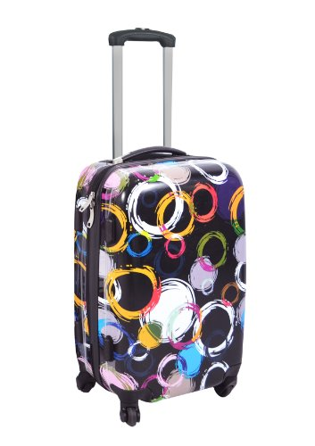 Dejuno Designer Black Circles Lightweight Hardside Spinner Upright Small Luggage front-665242