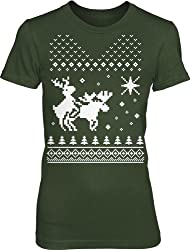 North Star Women's Reindeer Humping Moose T Shirt Ugly Sweater Tee for Women by Crazy Dog Tshirts