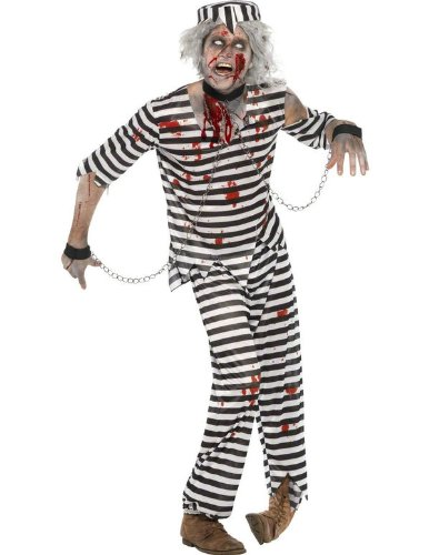 Smiffy's Men's Zombie Convict Costume with Top Trousers Hat and Chain Cuffs