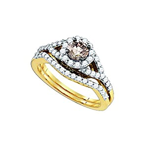 14kt Yellow Gold Womens Cognac-brown Colored Diamond Round Bridal Wedding Engagement Ring Band Set 1 Ctw