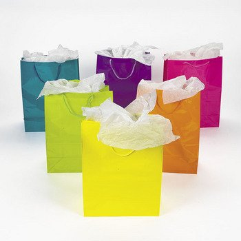 Lot of 12 Large Bright Neon Color Paper Gift Party Bags