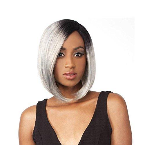 Meydlee Parrucche Candeggio tintura acconciature nero bianchi medio parte naturale dall'aspetto delle linee sottili donne parrucca di capelli