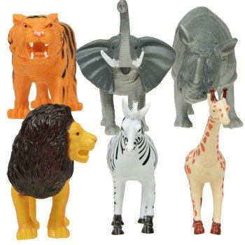 "Wild Animals Toy Figurines (Giraffe 5"" tall), Set of 6 Safari animals"