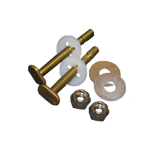 Lasco 04-3645 Solid Brass 5/6-Inch by 2-1/4-Inch Heavy Duty Bolts with Nuts and Washers Toilet Bolts