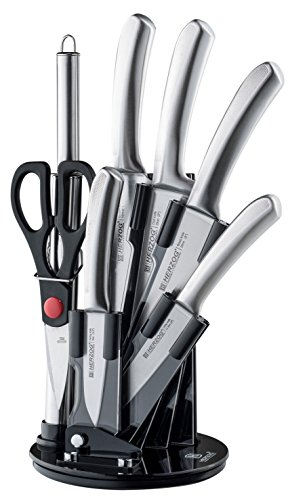 Herzog 8 Piece Knife Set Including Acrylic Stand - Extremely Sharp High Quality NonStick Coating Kitchen Knives With A Great