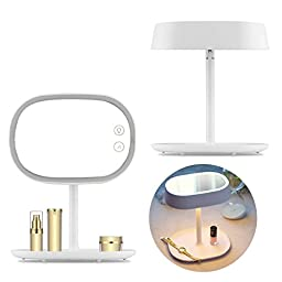 Dealpeak 3in1 Rechargeable Touch Sensor LED Lighted Magnifying Makeup Vanity Mirror Table Lamp with Storage Tray (White)
