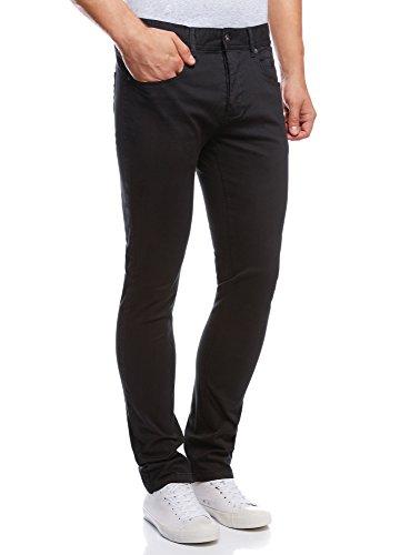 oodji Ultra Uomo Pantaloni 5 Tasche in Cotone, Nero, L / EU 44 (IT 48)