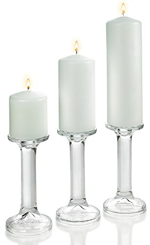 """3 Glass Round Shaped Candle Holders 7.5"""" with Set of 3 White Pillar Candles 3x3"""" 3x6"""" 3x9"""""""