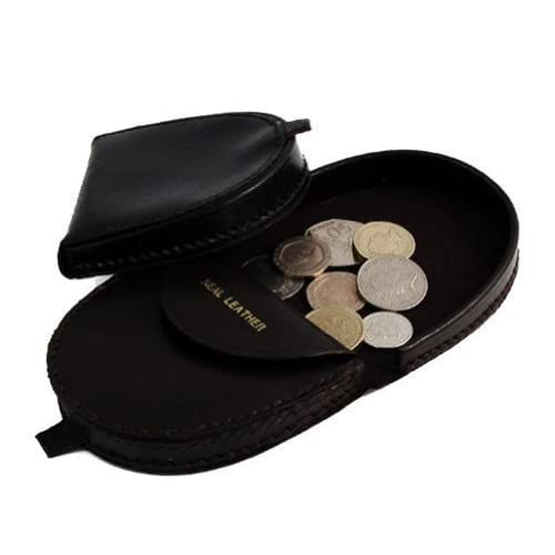 Mens Real Leather Coin Tray Purse LARGE 9cm x 8cm Coins Pouch Wallet