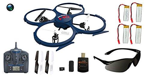 UDI RC U818A-1 HD UPGRADE SafeFly Special Edition mit Extra 3 POWER AKKUS-HD Kamera mit Tonaufzeichnung, 4 GB Micro SD Speicherkarte & SafeFly Sonnenbrille, Akku-Warner, 4.5 Kanal Drohne, LCD Display, GYROSCOPE-TECHNIK + 2,4Ghz TECHNOLOGIE, für INNEN und