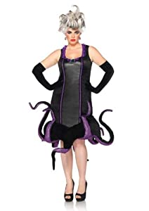 Leg Avenue Disney Plus-Size Ursula Velvet Costume Dress with Tentacle Skirt, Black/Purple, 1X-2X